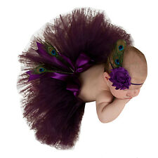Fairy Baby Girl PURPLE TURQUOISE Tutu Skirt Headband Photo Outfit Prop Costume