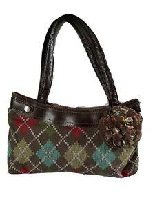 Thirty One Double strap Shoulder Handbag Purse Brown multicolored Plaid VGC