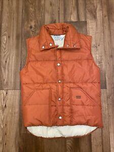 Wrangler Outerwear Vintage Puffer Vest Mens S Made in USA Orange