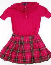Girls LILI GAUFRETTE Boutique Pink Sweater Shirt & Plaid Pleated Skirt Size 5