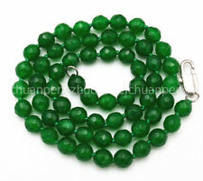 """Exquisite 6mm Natural green Emerald Faceted gemstone Beads manual Necklace 18"""""""
