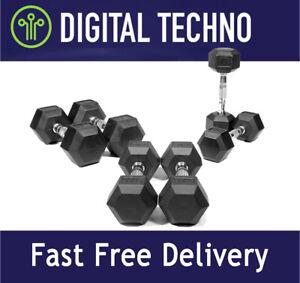 NEW Hex Hand Weights Dumbbells Rubber & Chrome Hexagonal Case Iron Dumbbell Set