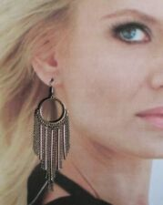 Long Hoop Fringe Earrings pierced silvertone Drop Dangle chain link mod Runway
