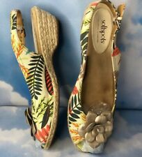 Softspots PillowTop Slingback Espadrilles Peep Toe Floral Tropical 11 N Low Heel