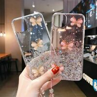 Glitter Sparkle Butterfly Clear Case Cover For iPhone 12 11 Pro Max XR XS 7 8+