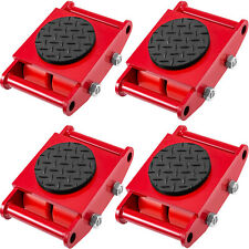 VEVOR 4Pcs Machinery Mover Skate Roller 6 Ton w/ 360° Rotation Cap Straight Red