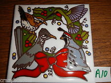 Ceramic Tile 6x6 Bird Christmas Wreath Southwestern Road Runner Hummingbird A10