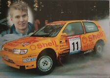 Nissan Sunny Gti Rally car postcard. Nissan Motorsport Europe 1997