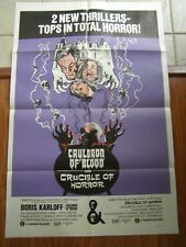 Vtg Movie Poster 1 sheet Cauldron Of Blood 1967 and Crucible Of Horror 1971