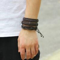 6pcs Fashion Punk Leather Wrap Braided Wristband Cuff Punk Mens Bracelet Bangle