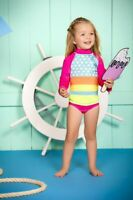 Girls Swimsuit Long Sleeve Rashguard  2 Piece  Set  with UPF 50+ Sun Protection