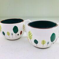 Starbucks Fall Leaves Pair Coffee Mugs Tea Cups Leaf Autumn 2007 9 OZ Set of 2