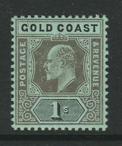 Gold Coast 1907-13 1/- Black/ green SG 65 Mint.