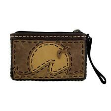 Women's Small Leather Wristlet or Coin Purse with Sunset Design
