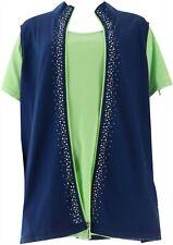 Quacker Factory Chaleco Camiseta Contraste de Color Set Luz Marina Lima XS nuevo...