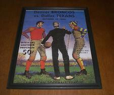 1960 DENVER BRONCOS vs DALLAS TEXANS FRAMED COLOR PROGRAM PRINT