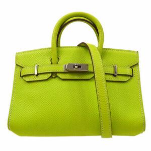 HERMES TINY BIRKIN 15 2way Mini Hand Bag purse Kiwi Veau Epsom ☐N 52MN 81296