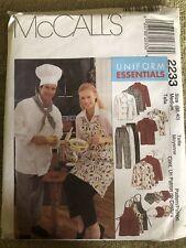 McCalls M2233 Chef Cook Uniforms Jacket Hats Apron Pant Sz 38-40 New Uncut
