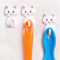 3Selbstklebende Haken der süße Kätzchen,Nagelfreier, Kleiderbügel Handtuchhalter