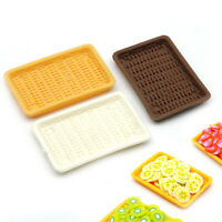 2PCS Scale Dollhouse Miniature Kitchen Lunch Box Rattan Food Fruit Dish Plate