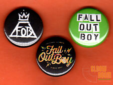 "Set of three 1"" Fall Out Boy pins buttons band FOB Uma Thurman rock alternative"