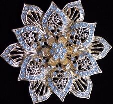 NIB SMITH ELEGANT GOLD CLEAR RHINESTONE SNOWFLAKE POINSETTIA FLOWER PIN BROOCH 3