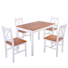 5PCS Pine Wood Dinette Dining Set Table and 4 Chairs Home Kitchen Furniture