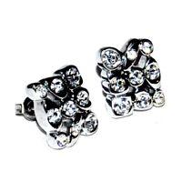Boucles d'oreilles en rhodium argenté et cristal blanc bijou earring