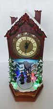 Christmas House Quartz Clock With Lights, Christmas Carol Music & Rotating Rink