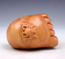 Boxwood Hand Carved Netsuke Sculpture Miniature Bug Insect On Foot #06011703