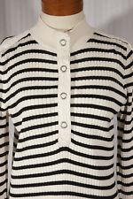 LAUREN RALPH LAUREN Women's Size L Large Black Striped Mock Neck Cotton Sweater