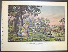 American Country Life Summers Evening Haying 1952 Color Lithograph Currier Ives
