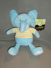 "ANIMAL ADVENTURE STUFFED PLUSH BLUE ELEPHANT YELLOW WHITE STRIPE SHIRT 7"" 10"""