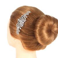 Bridal Wedding Flower Diamante Crystal Rhinestone Women Hair Comb Headpiece
