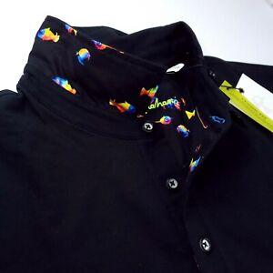 Robert Graham Black Colorful Koi Fish Polo Shirt Stretch Short Sleeve $168