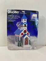 Bucilla Plastic Canvas Sealed Kit Christmas Chapel Tissue Box Cover 61201 1996