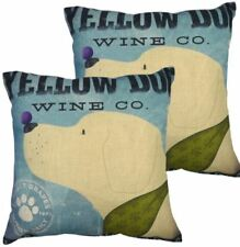 Set of 2 Cotton Linen Canvas Home Decorative Pillow Case 17x17 inches YELLOW DOG