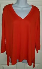 Michael Kors NWT Womans 1x Orange Shirt Gold Tone Embellishments On Shoulders