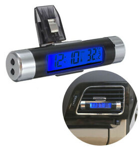 Car Auto Dashboard Digital LCD Blue Backlight Thermometer Time Clock Calendar