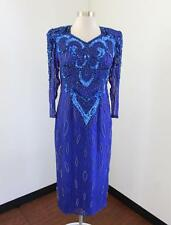 Vtg Royal Blue Silk Beaded Sequin Midi Evening Dress Formal Party Size M / L