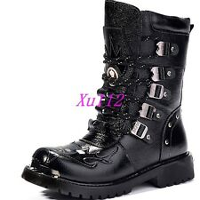 Vintage Mens Boys Punk Mid Calf Gothic Lace Up Boots Military Shoes All Size UK