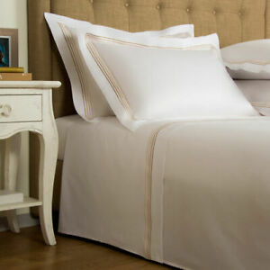 FRETTE HOTEL COLLECTION CRUISE CAL KING 4PC SHEET SET SATEEN WHITE/BEIGE