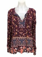 KNOX ROSE Floral Top Women's Size L Long Sleeve Tie Up Blouse Tunic