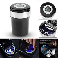 Portable LED Light Compass Ashtray Car Cigarette Ash Cylinder Cup Smoke Holder