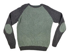 OVS Men's Large Green Gray Acrylic  Waffle & Cable Knit Padded Pullover Sweater