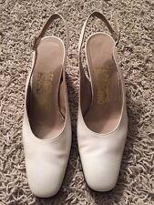 Women's Ferragamo Off-white Sling Back Shoes, Size 6B