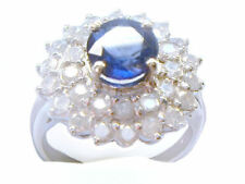 3.23ct Ceylan saphir et diamant Bague 14k Or Blanc