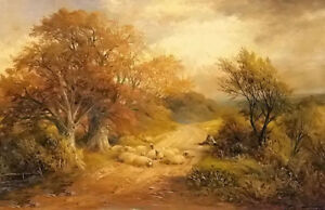 Oil painting George Turner - a derbyshire water lane sheep in autumn landscape