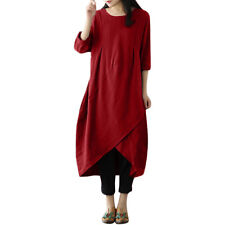 Plus Size Women Vintage Long Sleeve Tunic Tops Shirt Baggy Loose Long Maxi Dress