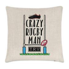 Crazy Rugby Man Linen Cushion Cover Pillow - Funny League Union Sport